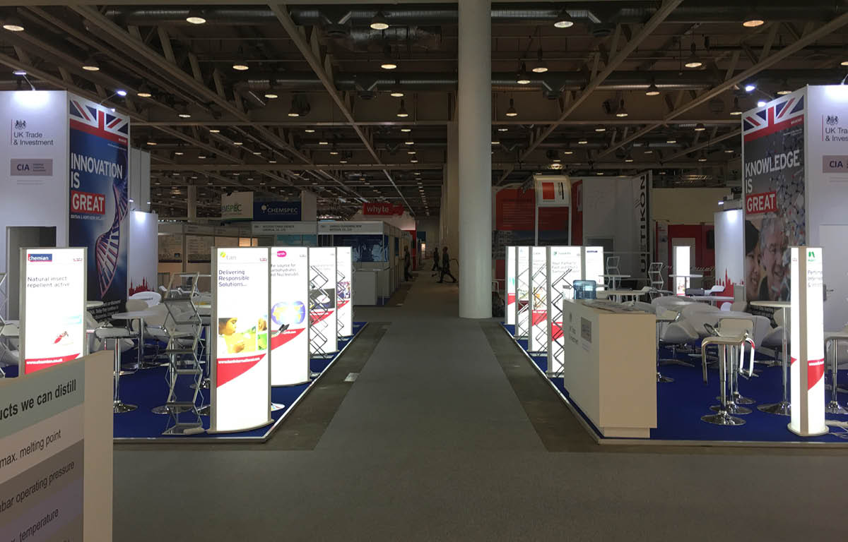 View of stands at the Chemspec 2018 exhibition